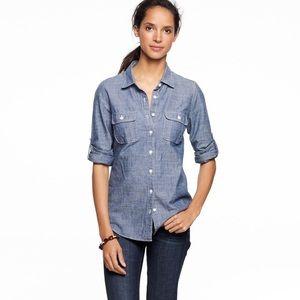 J Crew perfect shirt chambray button down blue